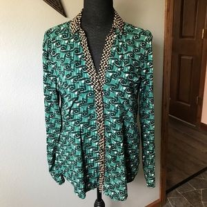 ANTHRO MAEVE Teal Button front long sleeve top